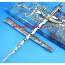 """New King Tut 14"""" Egyptian Mummy Pharaoh Kris King Lion Dirk Chrome Wavy Blade Dagger Sword Knife"""