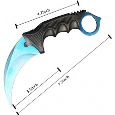 Electric Cool Blue Karambit Knife Stainless Steel Fixed Blade Tactical Knife with Sheath and Cord Knife CSGO for Hunting Camping and Field Survival