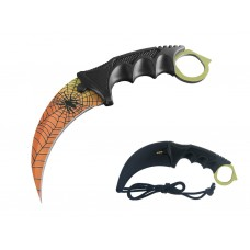Sunset Spider Web Karambit Knife Stainless Steel Fixed Blade Tactical Knife with Sheath and Cord Knife CSGO for Hunting Camping and Field Survival