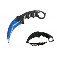 Blue Lighting Bolt Karambit Knife Stainless Steel Fixed Blade Tactical Knife with Sheath and Cord Knife CSGO for Hunting Camping and Field Survival