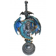 """10"""" Blue Serpent Celtic Dragon Wrapped On a Cross Statue & Sword Letter Opener"""